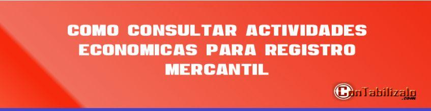 Como consultar actividades económicas para registro mercantil