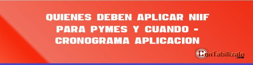 Quiénes deben aplicar NIIF para Pymes y cuando - Cronográma Aplicación