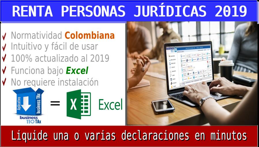 renta personas Jurídicas en Excel